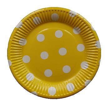 10PCS 7-inch Dot Party Paper Tray Yellow White Circle