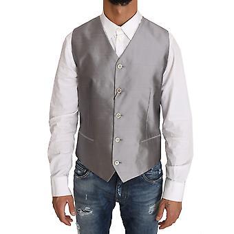 Dolce & Gabbana Silver Silk Blend Dress Vest Blazer Vest -- TSH2998640