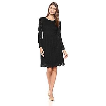 Lark & Ro Women's Long Sleeve Gathered Lace Fit and Flare Dress, Black, 4