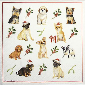 Ambiente 3 Ply Paper Napkins, Christmas Dogs