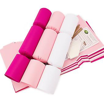 8 Jumbo Ballet Pink & White Make & Fill Your Own Recyclable Christmas Crackers