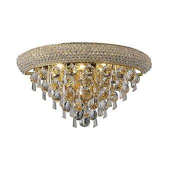 Geïnspireerde Diyas - Alexandra - Wandlamp Medium 3 Licht Frans Goud, Kristal