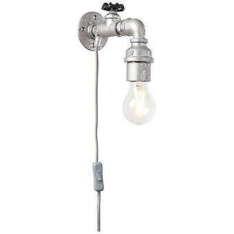 Luz brillante lámpara de pared de la lámpara de zinc antiguo 1x A60, E27, 60W, adecuado para lámparas normales (no incluidas) Escala A++