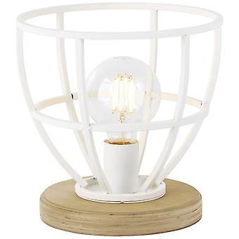 BRILLIANT Lamp Matrix Houten tafellamp 25cm wit mat   1x G95, E27, 60W, geschikt voor normale lampen (niet inbegrepen)