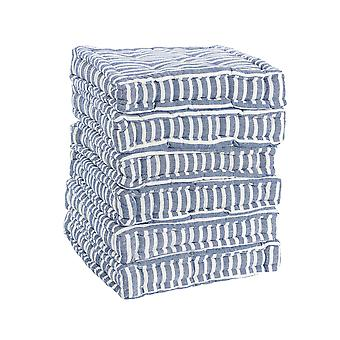 Nicola Spring Square Padded French Mattress Dining Chair Cushion Seat Pad - Blue Stripe - Pack of 6