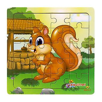 9/20 Slice, Animals And Vehicle Wooden Puzzles - Educational Learning Toy
