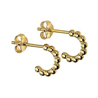 Beginnings Sterling Silver Gold Plated Small Ball 3/4 Hoop Earrings E5867