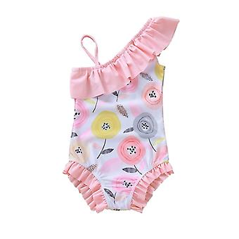 Baby Girls Flower Bikini Toddler Kids Summer Bodysuit Swimwear For Girl Swimsuit Bathing Suit Beachwear Pink 1-5 Years