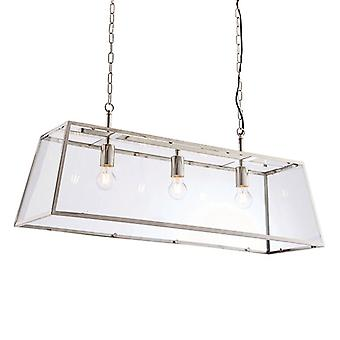 Endon Lighting Hurst - Pendentif Bright Nickel Plate & Clear Glass 3 Light Dimmable IP20 - E27