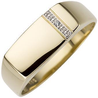 Anello uomo 0.005ct 585 Oro Giallo Oro 1 Diamante Brillante