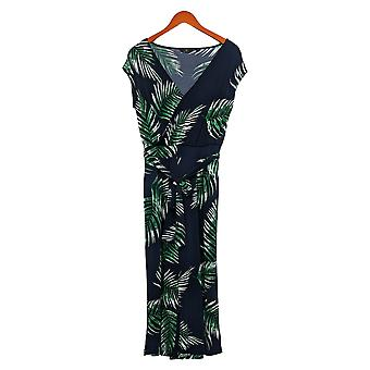 G by Giuliana Jumpsuits Cropped Knit Floral Printed One-Piece Blue 695-571
