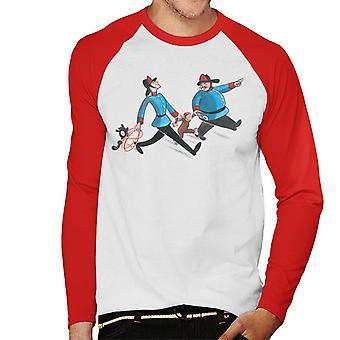 Curious George Fire Department Men's Baseball Long Sleeved T-Shirt