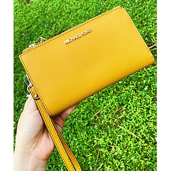 Michael kors jet set large double zip wristlet marigold yellow leather