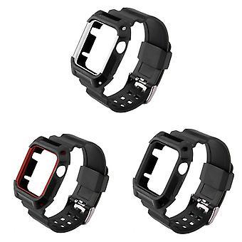 Strapsco zwarte rubberen band w/ ingebouwde beschermhoes voor apple watch