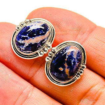 "Sodalite Earrings 3/4"" (925 Sterling Silver)  - Handmade Boho Vintage Jewelry EARR408002"