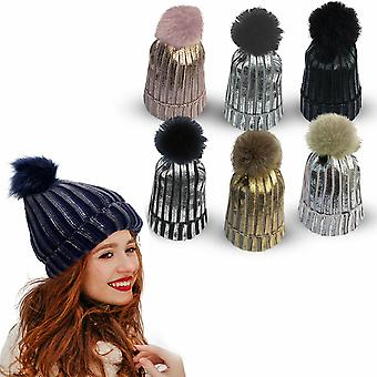 Ribbed Knit Winter Beanie Bobble Hat with Stylish Metallic Foil - Assorted