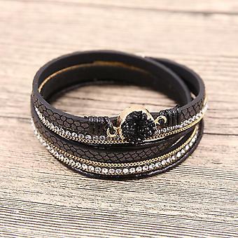 Leather Bracelets, Multilayer, Druzy Bracelet, Vintage Feather, Charm