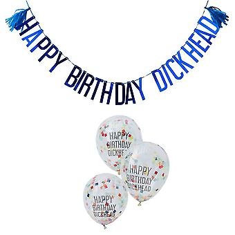 Naughty Adult His Decorations   Happy Birthday Dickhead & Party Balloons x5