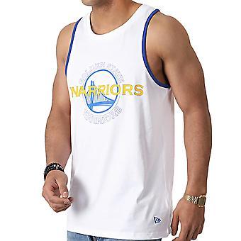ニューエラ メンズ NBA ゴールデンステート ウォリアーズ ダブル ロゴ ベスト タンク トップ - ホワイト
