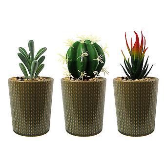 Set of Three 17cm Ceramic Stone Stripe Planter with Artificial Cactus Dracaena & Succulents