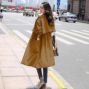 Trench Long Section Solid Color Coat Light Weight Casual Lady's Windbreak