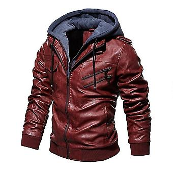 Men Winter Jacket, Thick Coat Fashion Zipper Faux Leather Fur Lined Warm Wear