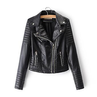Nők Sima Motorkerékpár Faux Bőr kabátok, Női hosszú ujjú ősz, Tél