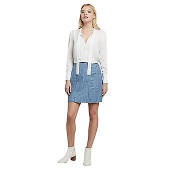 Louche Womens Remi Stripe Chambray Panelled Mini Skirt Chambray