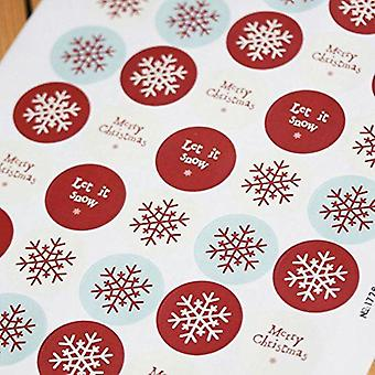 East of India Christmas Stickers Sheet - Snowflake, 'Merry Christmas' - Round x 40