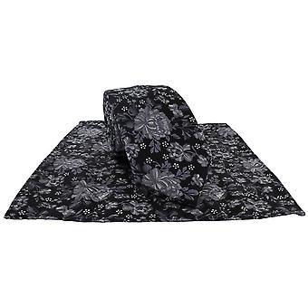 Michelsons von London Umriss Floral Krawatte und Pocket Square Set - schwarz