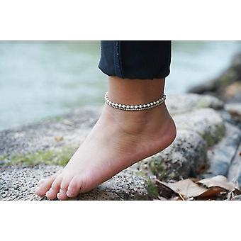 White Dual Band Boho Silver Anklet
