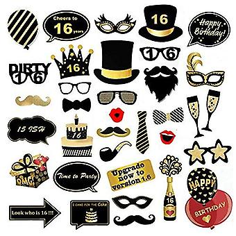 Veewon 16th birthday party photo booth props funny birthday celebration decoration supplies - 35 cou
