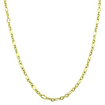 """10K Yellow Gold Flat Oval Figaro Chain Necklace,2.3mm, 18"""""""