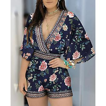 Deep V Neck Floral Half Sleeve Strampler Playsuits