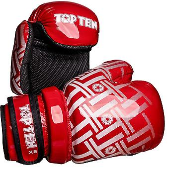 Top Ten Superlight Prism Glossy Pointfighter Guantes Rojo/Blanco