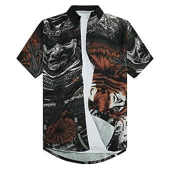 Allthemen Men's 3D Printed Shirt Japanese Warrior Samurai Short-sleeved Lapel Top
