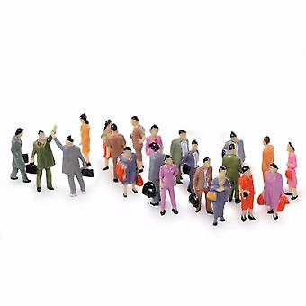 100pcs 1:87 Building Layout Model People Train Ho Scale Painted Figure