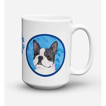 Caroline's Treasures SS4792-BU-CM15 Boston Terrier Microwavable Ceramic Coffee Mug, 15 oz, Multicolor