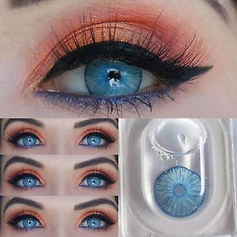1 pari sininen luonnollinen värillinen piilolinssit silmät kosmeettinen värillinen