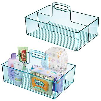 mDesign Nursery Plastic Divided Storage Tote Caddy, Large, 2 Pack - Sea Blue