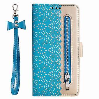 Stilvolle Folio Ledertasche für Samsung Galaxy A70 - blau