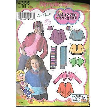البساطة نمط الخياطة 4386 الطفلات الفتيات ليزي ماجواير بونشو وشاح سترة حجم M-XL 7-16