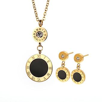 Round Stainless Steel Jewelry Set, Vintage Numeral Wedding Sets