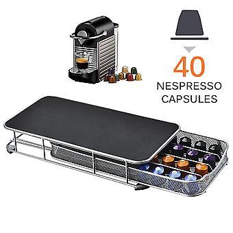 Nespresso Coffee Pod Holder Förvaringslåda Kaffekapslar Organisatör för 40st Nespresso Kapslar Metallhyllor Organisation Låda