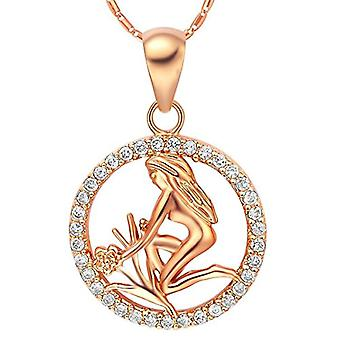 Autiga&reg, Women's Necklace, with zodiac sign pendant of the&rsquo,Aquarium and zircons, gold plated, metal base, color: Ref. 4058433099661