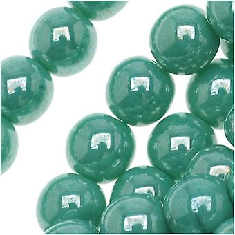 التشيكية الزجاج دروك جولة الخرز 6mm الأخضر الفيروز بريق (50)