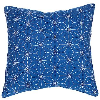 Sass & Belle Stitch Print Blue Cushion