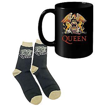 Queen Mug and Socks Gift Set Classic Crest Band Logo nouveau officiel