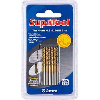 SupaTool Titanio Recubierto HSS Brocas 2x49mm 10 Pieza