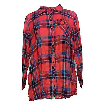 Tolani Collection Women's Top LP Petite Plaid Tunic Red A383446